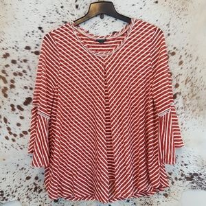 Red White Stripe Flowing Blouse Bell Sleeves Sz L